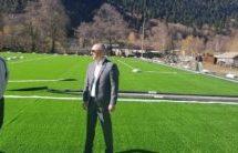 Заместитель Мэра Азрет Караев ознакомился с ходом работ по строительству нового детского сада в г. Теберда и проинспектировал ход работ по установке нового футбольного поля